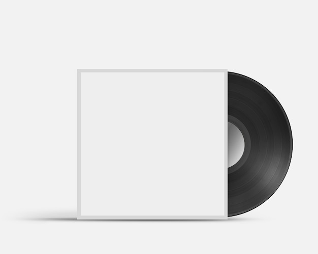 Vinyl record in blank cover envelope isolated on white