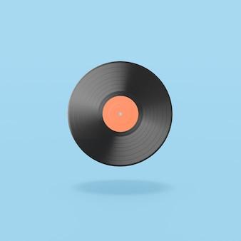 Vinyl record on blue background