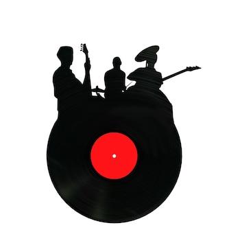 シェイプロックグループのビニールレコード3dレンダリング白い背景に3dレンダリング