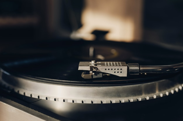 Vinyl record player at home close up