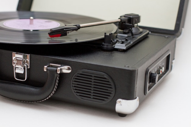 Vinyl record player.
