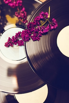 Vinyl record and spring flowers