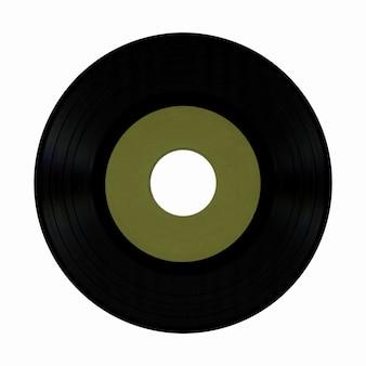 白の上に分離された空白の緑のラベルとビニールレコード