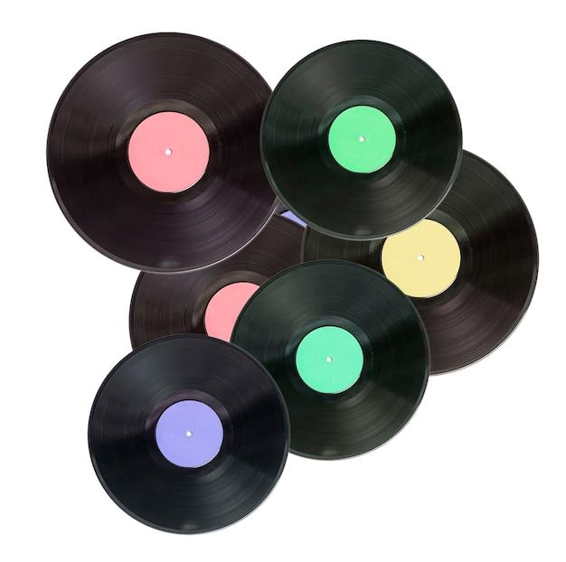 白い表面にビニール レコード