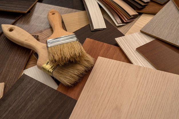 Vinyl  samples for furniture with paint  brush for design