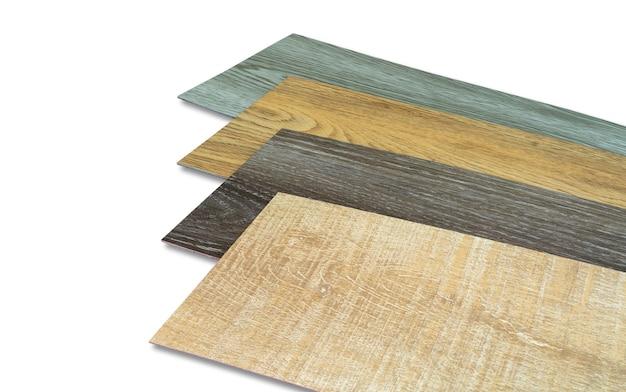 인테리어 디자이너를위한 비닐 타일 스택 샘플 컬렉션. 새로운 나무 패턴 비닐 타일.
