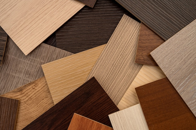 Vinyl  wooden  samples with different  type of wood texture for design