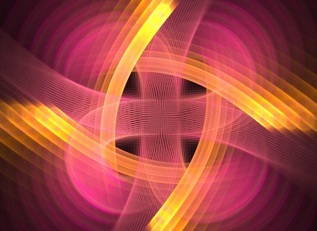 黒の背景に紫の抽象的な丸い曲線と線
