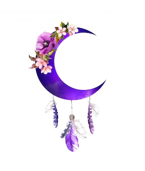 Violet crescent moon with flowers and feathers. boho vintage design for woman tattoo. watercolor bohemian illustration
