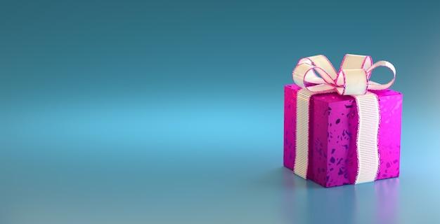 テキスト用の青い背景のコピースペースに白いリボンが付いた紫のギフトボックス