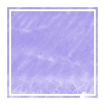 Violet hand drawn watercolor rectangular frame background texture with stains