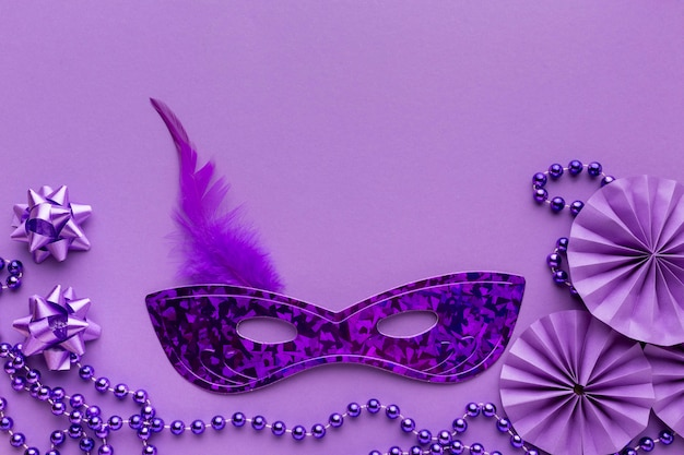 Violet mask and decorations copy space
