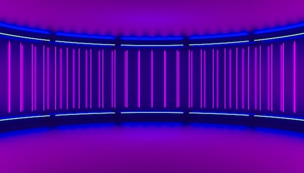 원형 무대의 벽에 있는 램프에서 바이올렛 최소한의 추상 3d 배경 네온 불빛