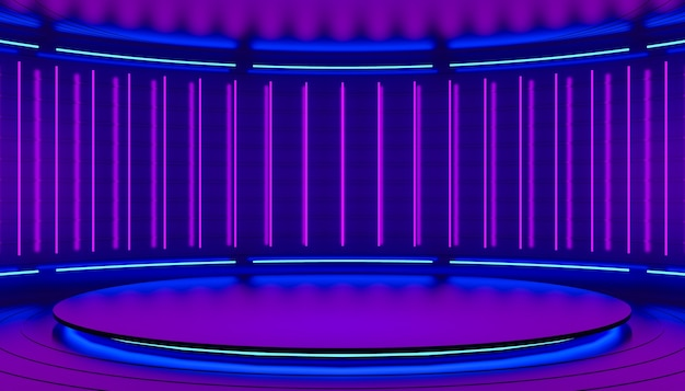 Violet pink and purple minimalistic abstract 3d background neon light from lamps on the walls of the circular podium stage 3d illustration