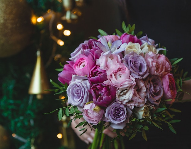 Violet and pink tone flowers bouquet
