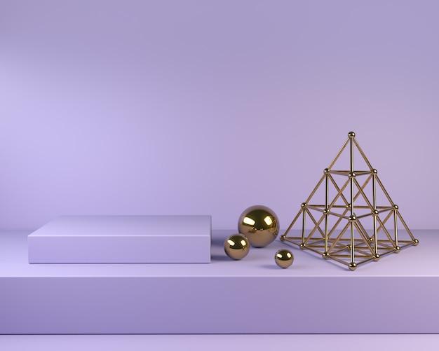 Violet podium square steps with golden decor 3d render