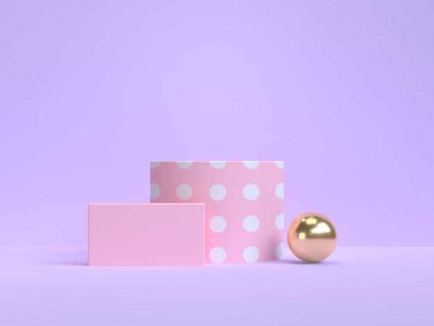 보라색 보라색 최소한의 핑크 골드 기하학적 모양 3d 렌더링