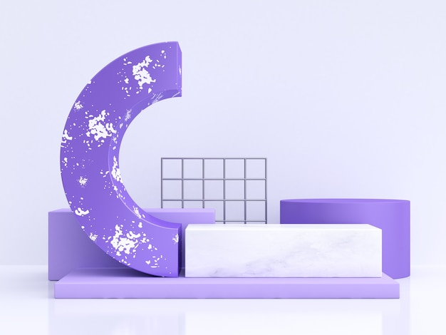 Violet-purple white curve shape abstract 3d rendering