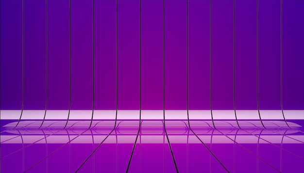 Violet ribbons illustration. background stage as template for your showcase.