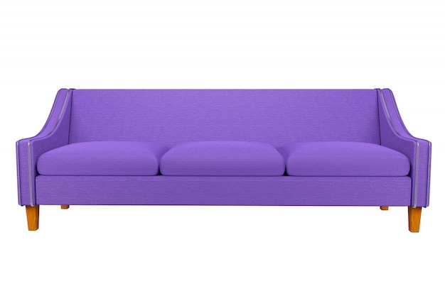 Violet sofa and chair fabric leather in white background for use in graphics, photo editing, sofas, various colors, red, black, green and other colors