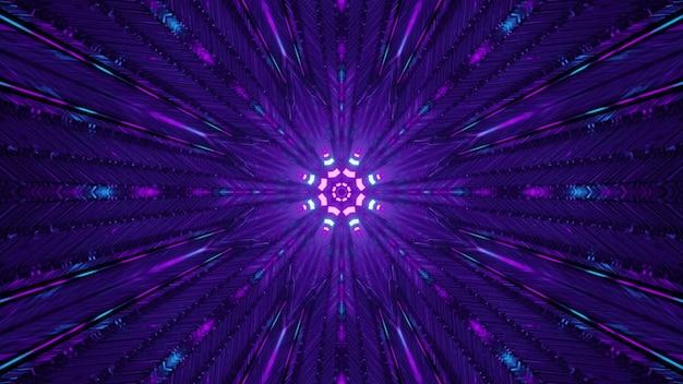 Violet tunnel with neon illumination 4k uhd 3d illustration