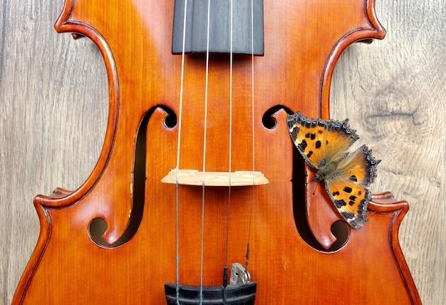 木製のテーブルの上のバイオリンと蝶