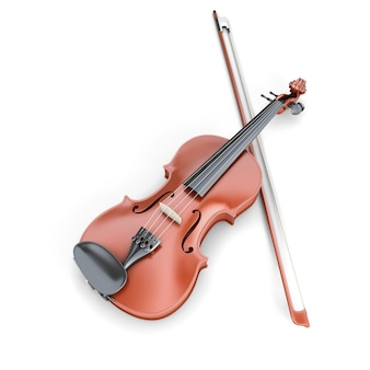 白い背景で隔離のバイオリンとフィドルスティック。 3dレンダリング画像。