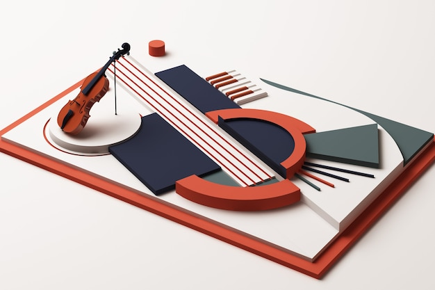 바이올린과 음악 악기 개념, 오렌지와 블루 톤의 기하학적 인 도형 플랫폼의 추상 구성. 3d 렌더링