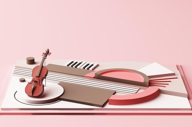 パステルピンクのトーン3 dレンダリングで幾何学図形プラットフォームのバイオリンと音楽楽器の概念の抽象的な構成