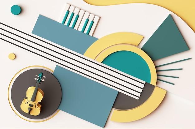바이올린과 음악 악기 개념, 노란색과 녹색 톤의 기하학적 모양 플랫폼의 추상 구성. 3d 렌더링