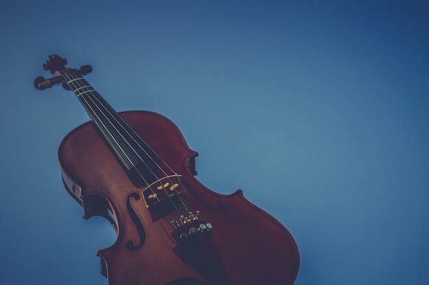 A violin on a blue background