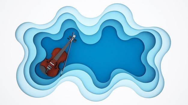 Violin on blue wave background