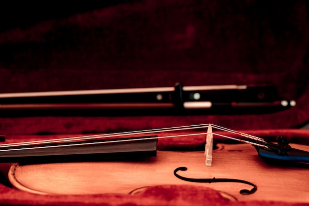Violin and bow in dark red case. close up view of a violin strings and bridge