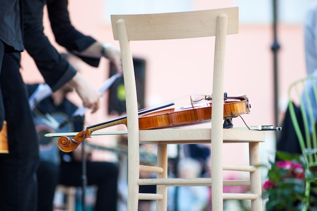 Violin in a chair