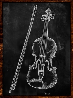 Violin drawing sketch on blackboard music