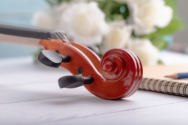 Violin headstock orchestra instrumental