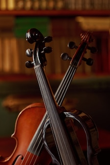 レトロなスタイルのバイオリンとモダンな電気ビオラ、クローズアップビュー、誰も。 2つのクラシック弦楽器、音楽芸術