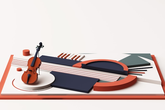 Violin and music instrument concept, abstract composition of geometric shapes platforms in orange and blue tone. 3d rendering