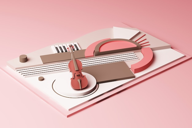 Violin and music instrument concept abstract composition of geometric shapes platforms in pastel pink tone 3d rendering