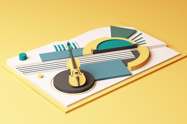 Violin and music instrument concept, abstract composition of geometric shapes platforms in yellow and green tone. 3d rendering