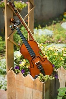 Violin musical instrument in flower garden