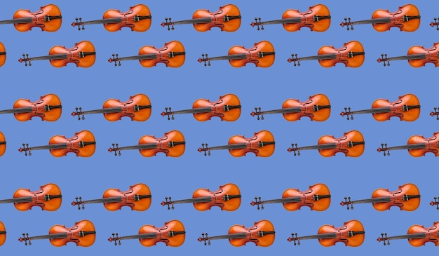 Бесшовный узор скрипки на синем фоне. бесшовный фон скрипка музыкальный инструмент. минималистичная концепция музыки. печать скрипки