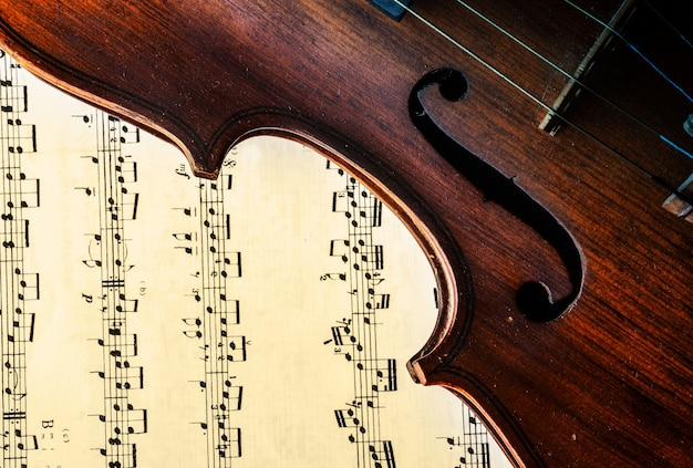 Violin with a sheet music