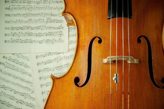 Скрипка с листами с музыкальными нотами крупным планом
