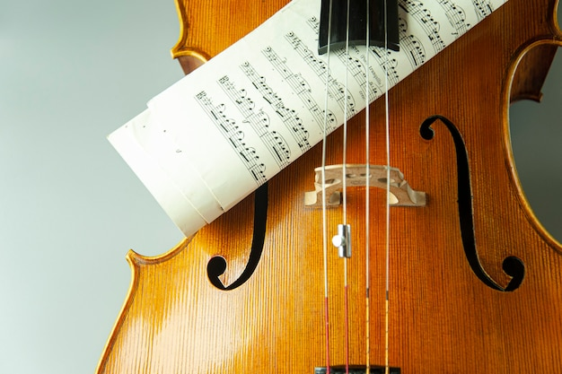 Violin with sheets with musical notes close up