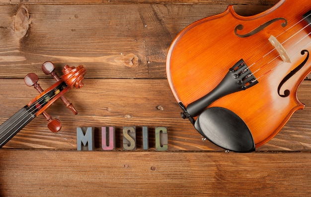 Violins in wood and word music in letterpress type
