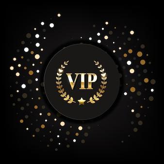 Vip golden label on a black background