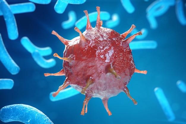 Viral hepatitis infection causing chronic liver disease, hepatitis viruses. 3d illustration