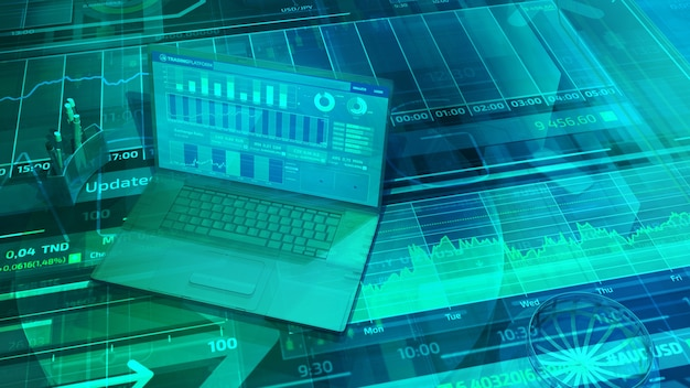Virtual background with stock trading data and laptop in three-dimensional space.