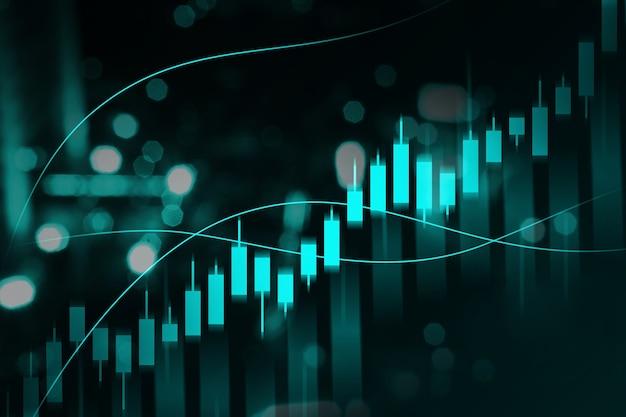 デジタル背景を持つ仮想ビジネス財務グラフ